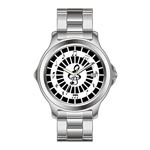 FDC - Reloj de pulsera de acero inoxidable para mujer, diseño de notas musicales de cuarzo japonés, fecha y fecha