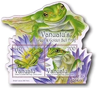 2011 Vanuatu's Green and Golden Bell Frog, Collectible Souvenir Sheet of 2 Stamps, Mint Never Hinged