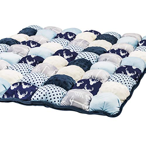 Puff Quilt Plush Baby Mat by Little Fawn & Co - Bubble Quilt for Lounging and Tummy Time - Baby Shower Gift (Navy and Light Blue)