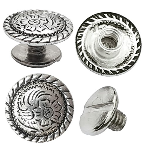 10 Pack 1/2 Antiqued Silver Engraved Concho 1/4 Chicago Screws Nickel