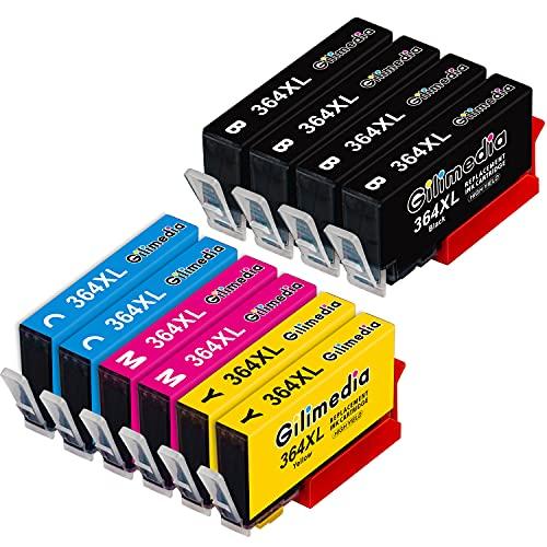 Gilimedia 364XL Cartuchos de tinta para HP 364 364XL Tinta Negro Cian Magenta Amarillo Compatible con HP Photosmart 5520 6520 7510 7520 5510 5524 6510 HP Officejet 4620 HP Deskjet 3070A(paquete de 10)