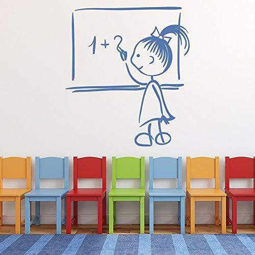 JXCDNB Compañeros de salón de Clase calcomanías de Pared guardería educación Primaria decoración de Interiores Ventana Pegatinas de Vinilo Mural Creativo extraíble 74x83cm