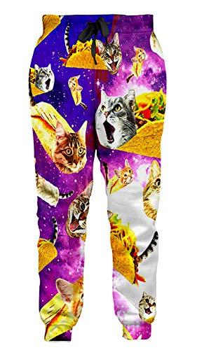Girl Boy Pizza Cat Jogger Pants Yellow Purple Loose Designer Sweatpants Cute Animal Trouser Elastic Drawstring Tracksuit XXL