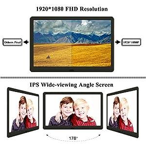 Digitaler Bilderrahmen mit 32GB SD, Elektronischer Fotorahmen 10 Zoll 1920 * 1080 HD IPS Display mit Kalender/Alarm/Foto/Musik/Video Player/automatisch drehen/Auto on/Off Timer, Schwarz