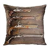 Suike Throw Pillow Cover Gun I8th Century Flintlock Pistols Antique Old American Collection Hidden Zipper Home Sofa Decorative Cushion Case 18x18 Inch Printed Pillowcase