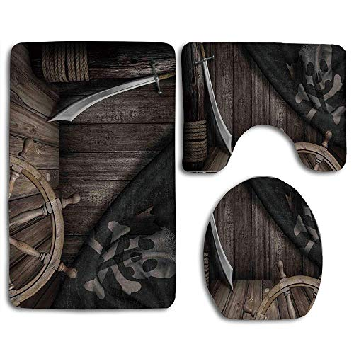 Ships Wheel Steering Wheel with Old Jolly Roger Flag and Saber in Pirates Ship Control Room Art Brown 3 Piece Bath Rug Set Bath Decor Soft Non-Skid Bathroom Mat Contour Toilet Rug with Lid Cover