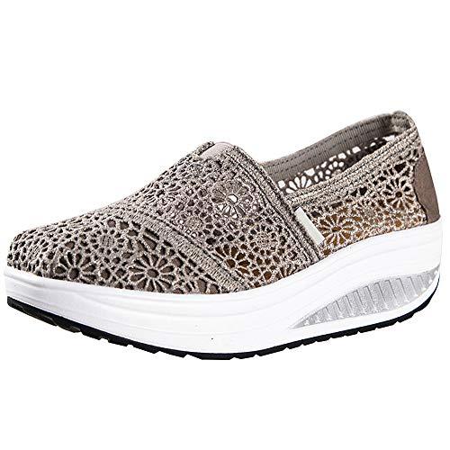 Zapatillas Balancin Mujer Tejer Cordón Ponerse Cuña Comodas Casual Zapatos para Caminar