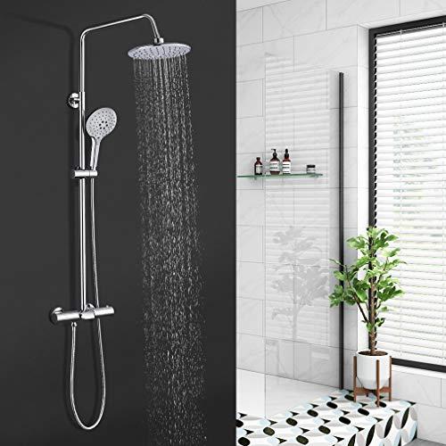 Duschsystem Thermostat, BONADE Regendusche mit Armatur Duscharmatur Badewannen Brausethermostat Duschset Edelstahl, Duschkopf 9 Zoll, Handbrause 3 Strahlarten, Verstellbare Duschstange
