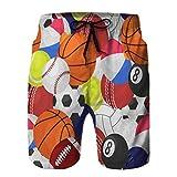 LJKHas232 3D Graphic Mens Summer Swim Funny Beach Board Shorts Deporte Pelota sin patrón Equipo Deportivo XL