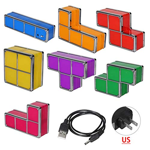Wilove Tetris Stackable Night Light,LED 7 Colors Induction Interlocking Desk Lamp 3D DIY Magic Blocks Puzzles Toy for Kids Teens Bedroom Home Decor Ideal Gift for Birthday (Tetris Light-7)