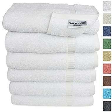 SALBAKOS Hand Towels for Bathroom - White Cotton - 6 Bulk Pack Turkish Cotton - Luxury Hotel & Spa Quality - 700gsm OEKO-TEX Organic + Eco-Friendly (White)