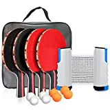 Number-one Ping Pong Set Portable Table Tennis Set Ping-Pong Game Pingpong Racket Set for Table Tennis Training with 4 Table Tennis Bats/Rackets/Paddles, 8 Ping-Pong Balls, 1 Retractable Table Tennis