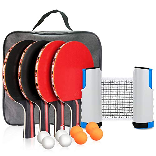 Best Review Of Number-one Ping Pong Set Portable Table Tennis Set Ping-Pong Game Pingpong Racket Set for Table Tennis Training with 4 Table Tennis Bats/Rackets/Paddles, 8 Ping-Pong Balls, 1 Retractable Table Tennis
