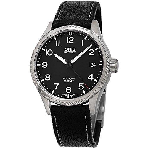 Oris Big Crown Propilot automático negro Dial Negro Cuero Mens Reloj 751–7697–4164LS