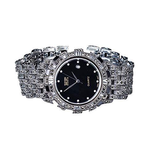Jade Angel - Reloj de pulsera para hombre, plata de ley 925, diseño de marcasita