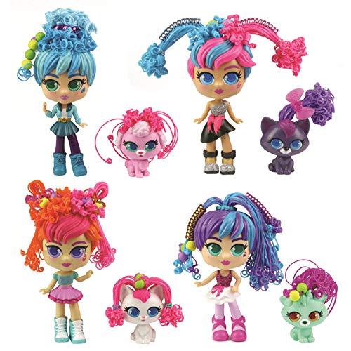Curli Girls 82086 - Set de belleza – Muñeca y mascota – Pelo mágico – Multicolor – Muñeca 15 cm – Animal 6 cm, modelos surtidos