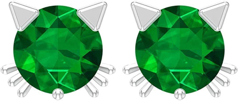 Solid Gold Engraved 4mm Round Cut Green Gemstone Stud Earring, Girl 1/2 CT Solitaire Emerald Cat Statement Earring, Kitty May Birthstone Earring Gifts, Screw Back