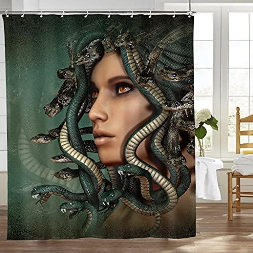 LNC 01P Greek Mythology Medusa Home Decor Shower Curtain Waterproof Bathroom Shower Curtain Quality Polyester Bathroom Shower Curtain Set with Hooks 60' X 72'