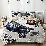 Funda nórdica Beige, póster de avión Retro Inspirado en Bon Voyage Lets Travel Fly Vintage, Juego de Cama de Microfibra Impresa de Calidad de 3 Piezas, diseño Moderno con suavidad y Comodidad