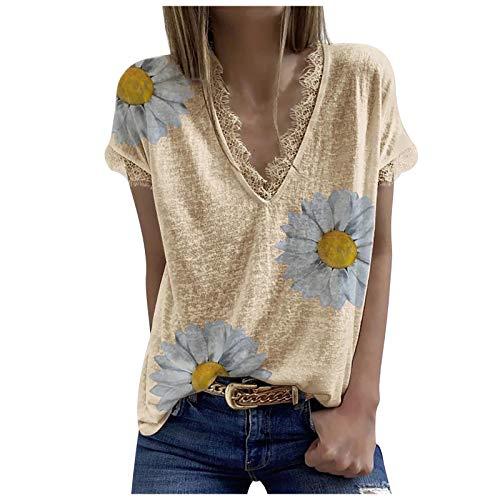 t-Shirts für Damen Sexy,Damen Sommer T-Shirt Basic Kurzarm Langarmshirts Tops V-Ausschnitt Lockere Oberteile Solide Casual Shirts Khaki