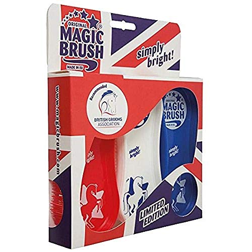 MagicBrush Pferdebürstenset 3er Bürsten-Set | Fellpflege Beinpflege Hufpflege Pferd (Union Jack)