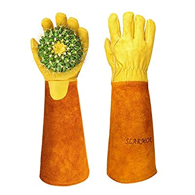 Gardening Gloves for Women/Men Rose Pruning Thorn Proof Cowhide Leather Long Forearm Protection Gloves for Garden Work-Medium