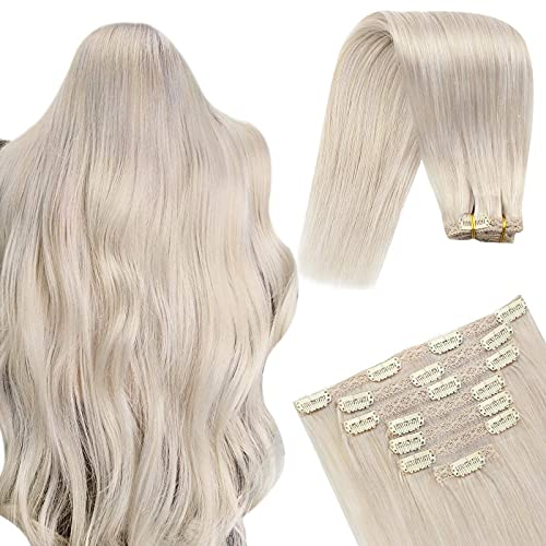 YoungSee 7pcs/100g Extension a Clip Cheveux Blonde Platine #60 Tête Pleine Clips Cheveux Extension Blond Clip Hair Extension Natural Human Hair 20 Pou
