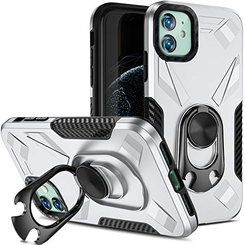 Charlam Compatible with iPhone 11 Case Dual Layer Shock Absorption Cover with Metal Ring Kickstand Compatible with Magnetic Car Kickstand Protective Phone Case Compatible with Apple iPhone 11, Sliver