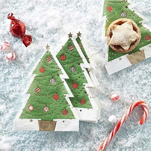 Ausgefallene Weihnachts-Servietten Motiv-Servietten TANNENBAUM grün rot & gold metallic mit Christbaum-Kugeln Weihnachts-Deko Tisch-Dekoration Weihnachten Advent Weihnachts-Feier Winter 12 Servietten
