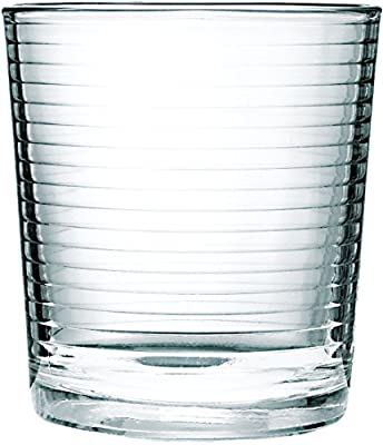 Circleware Hoop Heavy Base Whiskey Glass, Set of 4, Kitchen Entertainment Drinking Glassware for Water, Juice, Beer and Bar Liquor Dining Decor Beverage Cups Gifts, 12.5 OZ, 4pc DOF