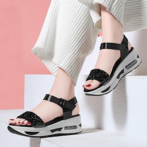 AJUNR Femmes Loisirs Printemps et été Mode Sandales Chaussures éponge Poisson Bouche Talons de Pente Plates-Formes étanches Fond épais Middle Heels étudiants des Chaussures