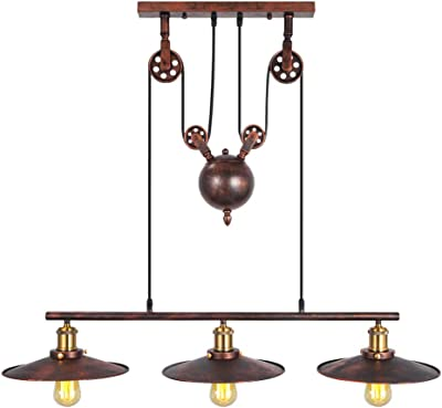 Boshen Industrial Pulley Antique Retro Iron Lamp Edison Adjustable Vintage Ceiling Light Pendant American Country Style Retractable Lamp (3 Heads, Rust)