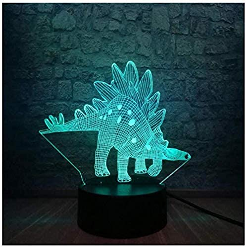 HUANGH Luz de Noche 3D luz de Noche Visual LED (Dinosaur Stegosaurus),7 Color Gradient Touch Remote Control Switch,Creative Home Bar Decoration