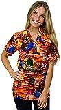 King Kameha Funky Hawaiian Blouse Shirt, Shortsleeve, Parrot Beer, Orange, L