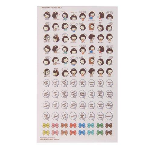 Gazechimp 5 Blätter Tagebuch Sticker Aufkleber Dekoration Süß Selbstklebend Kawaii Korean Cooky's Helloday