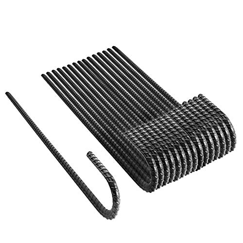"""NHZ 12"""" Ground Rebar Stakes (16pcs) Heavy Duty J Hook Ground Anchors, Curved Steel Plant Support Garden Stake with Chisel Point end, Hammer for Camping Tent - Black Powder Coated"""