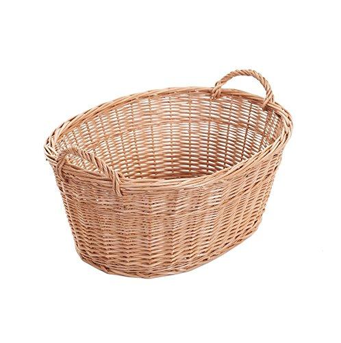 e-wicker24 Ovale naturfarbige Weidenschüssel, Wäschekorb aus Weide, Weidenwanne in Naturfarbe, Weidenkorb in Wanneform