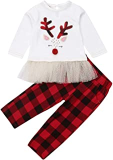 Funny Toddler Girl Christmas Outfits Boutique Reindeer Shirt Top+Plaid Pants Set