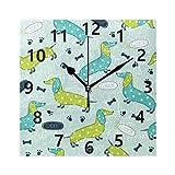 Rootti Reloj de pared grande con diseño de perro de dibujos
