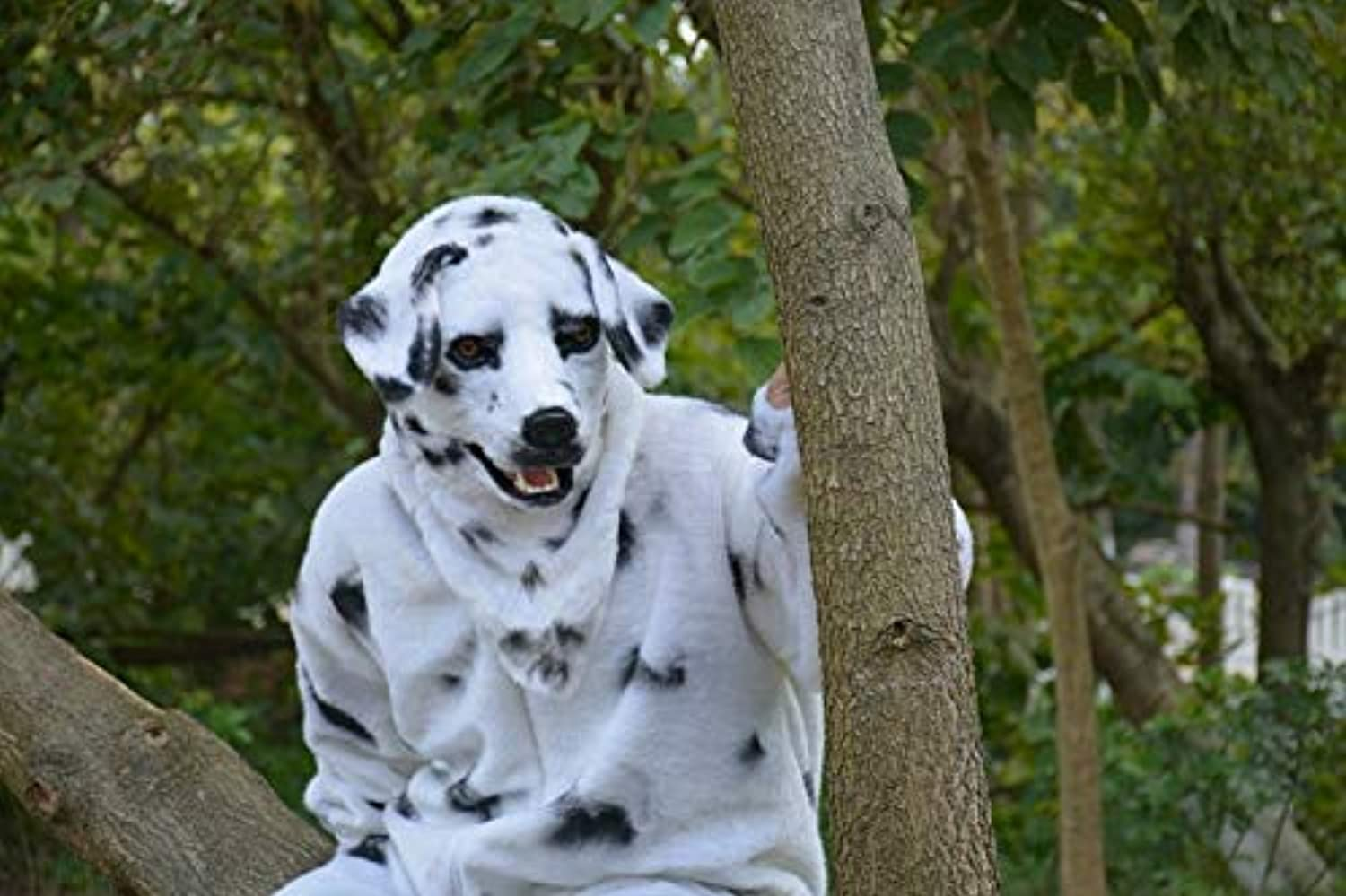 XHDmasks for adults Moving Mouth Faux Fur Adult Costume MaskMouth Mover Dalmation Mask ( color   White , Size   2525 )