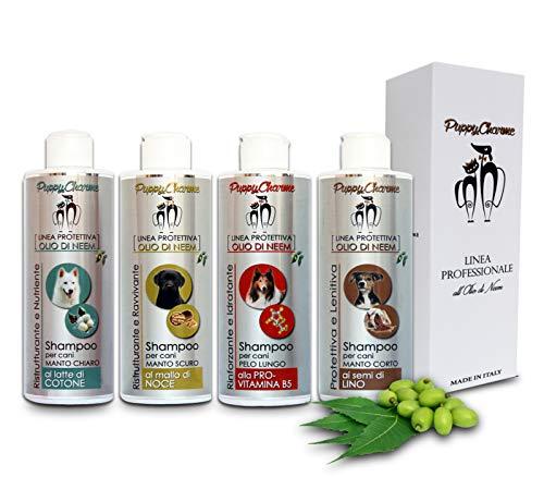 Puppy Charme - Linea Professionale all'OLIO di NEEM. Shampoo per Cani e Gatti. Antipulci, antiparassitario e balsamo per Cane e Gatto. Prodotti Naturali e Linee Fashion Pets 250ml (Latte di Cotone)