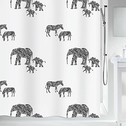 """Spirella Anti-Schimmel Duschvorhang - Anti-Bakteriell, waschbar, wasserdicht, Polyester, """"Serengeti"""" 180x200cm Weiß Elefanten"""