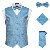 Vittorino Men's 4 Piece Formal Paisley Vest Set with Tuxedo Vest Tie Hankerchief Bow Tie , Turqouise , X-Large