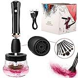 Lyneun Maquillaje Limpiador y secador de brochas, eléctricas profesional Juego de limpiadores de brochas, herramientas automáticas de maquillaje,All in 1 rápida y profunda limpieza