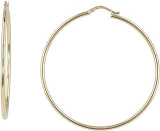 Gioiello Italiano - Orecchini a cerchio a canna tonda in oro giallo 14kt, diametro 5.3cm, da donna