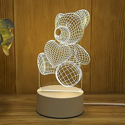 wangzj Night Lights Lámpara de mesilla-Caring Bear Lámpara pequeña Luces de interior Lámpara de mesita USB Lámpara de mesa 3D Regalo de cumpleaños de niña
