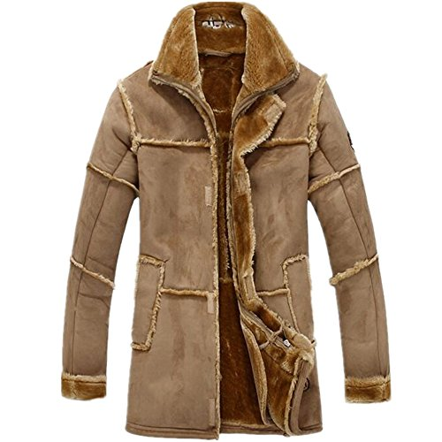 Allonly Men's Vintage Sheepskin Jacket Fur Leather Jacket Cashmere Shearling Coat Camel