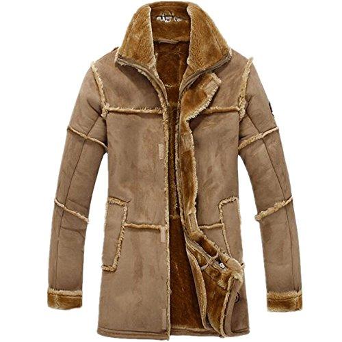 Allonly Men's Vintage Sheepskin Jacket Fur Leather Jacket Cashmere Shearling Coat Camel