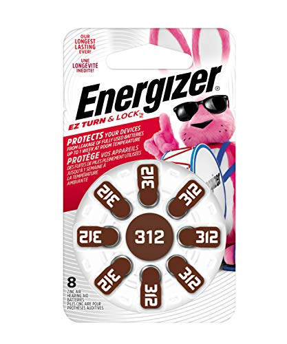 Energizer Batteries AZ312DP EZ Turn and Lock Hearing Aid, Size 312, 8 Count by Energizer