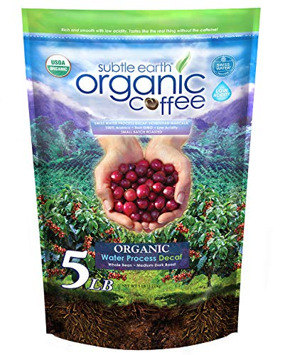 5LB Subtle Earth Organic Decaf - Swiss Water Process Decaf -Medium Dark Roast - Whole Bean Coffee - Low Acidity - Organic Certified by CCOF - 5 Pound (5 lb) Bag